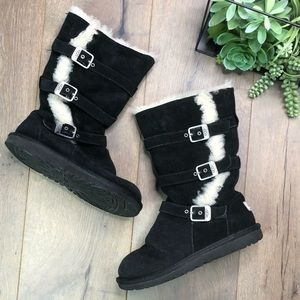 UGG • Black Sheepskin Buckle Suede Boots